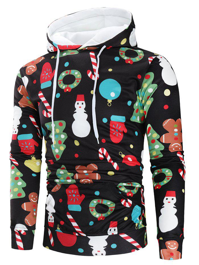 Christmas Theme Printed Long Sleeve Hoodie - multicolor XL