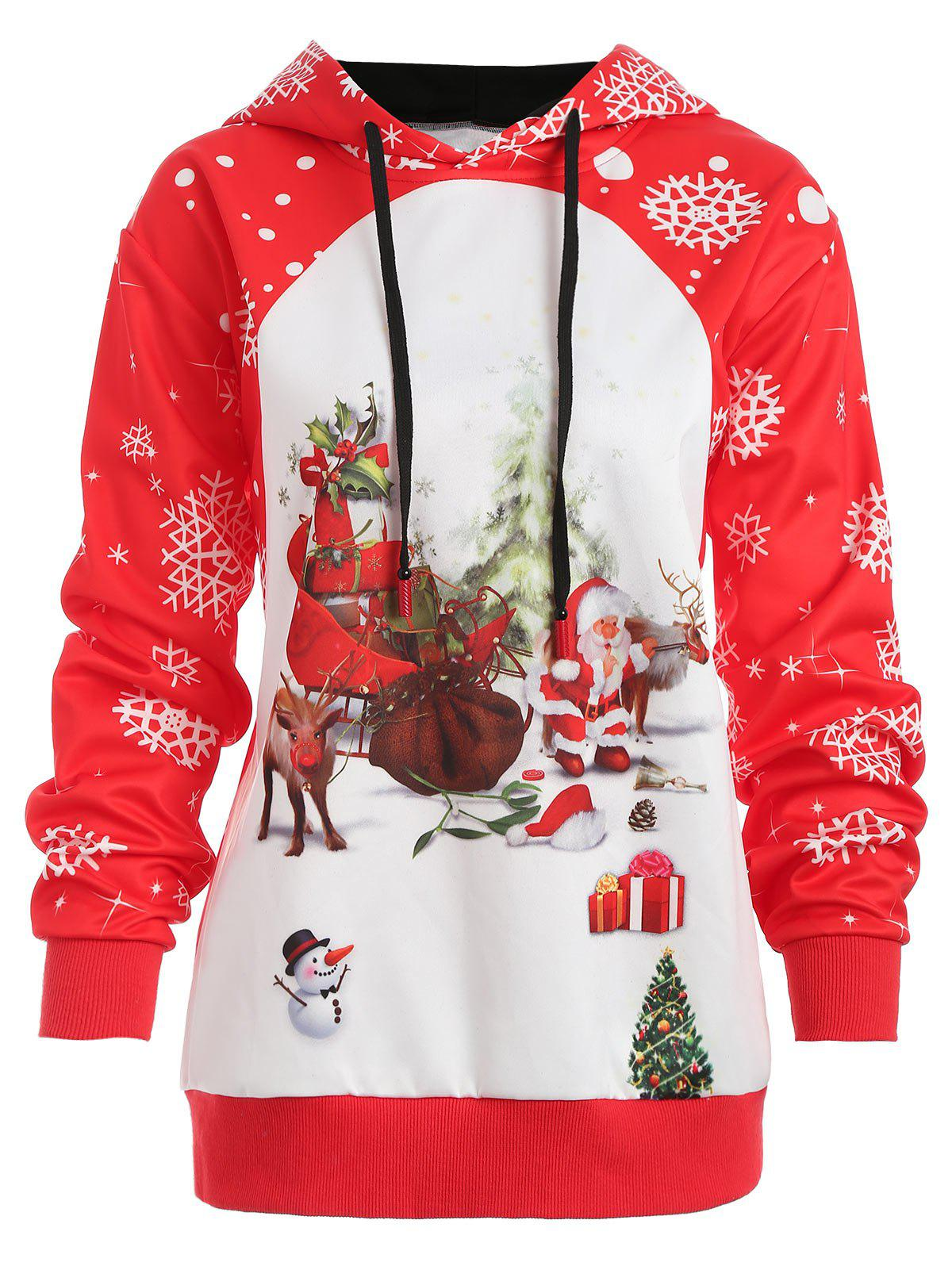 Plus Size Christmas Snowflake Hoodie - RED L
