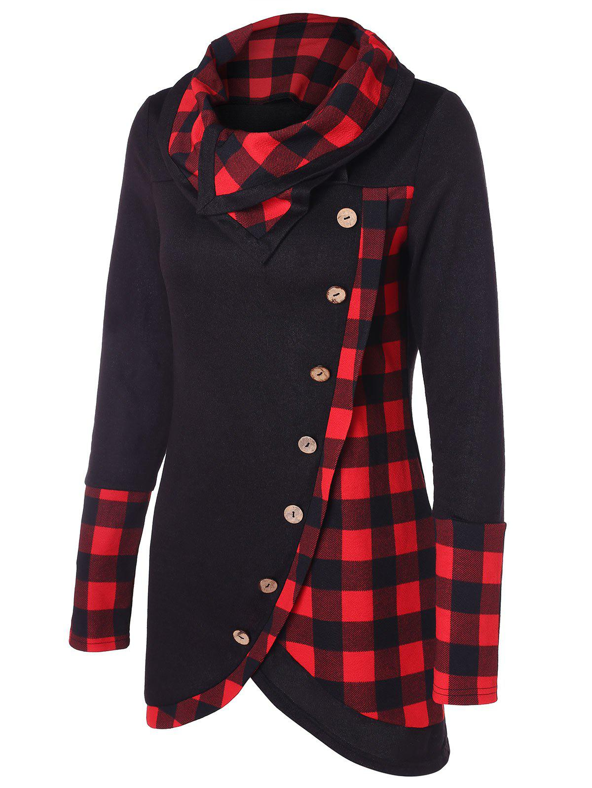 Turtleneck Tartan Tunic Sweatshirt - BLACK M