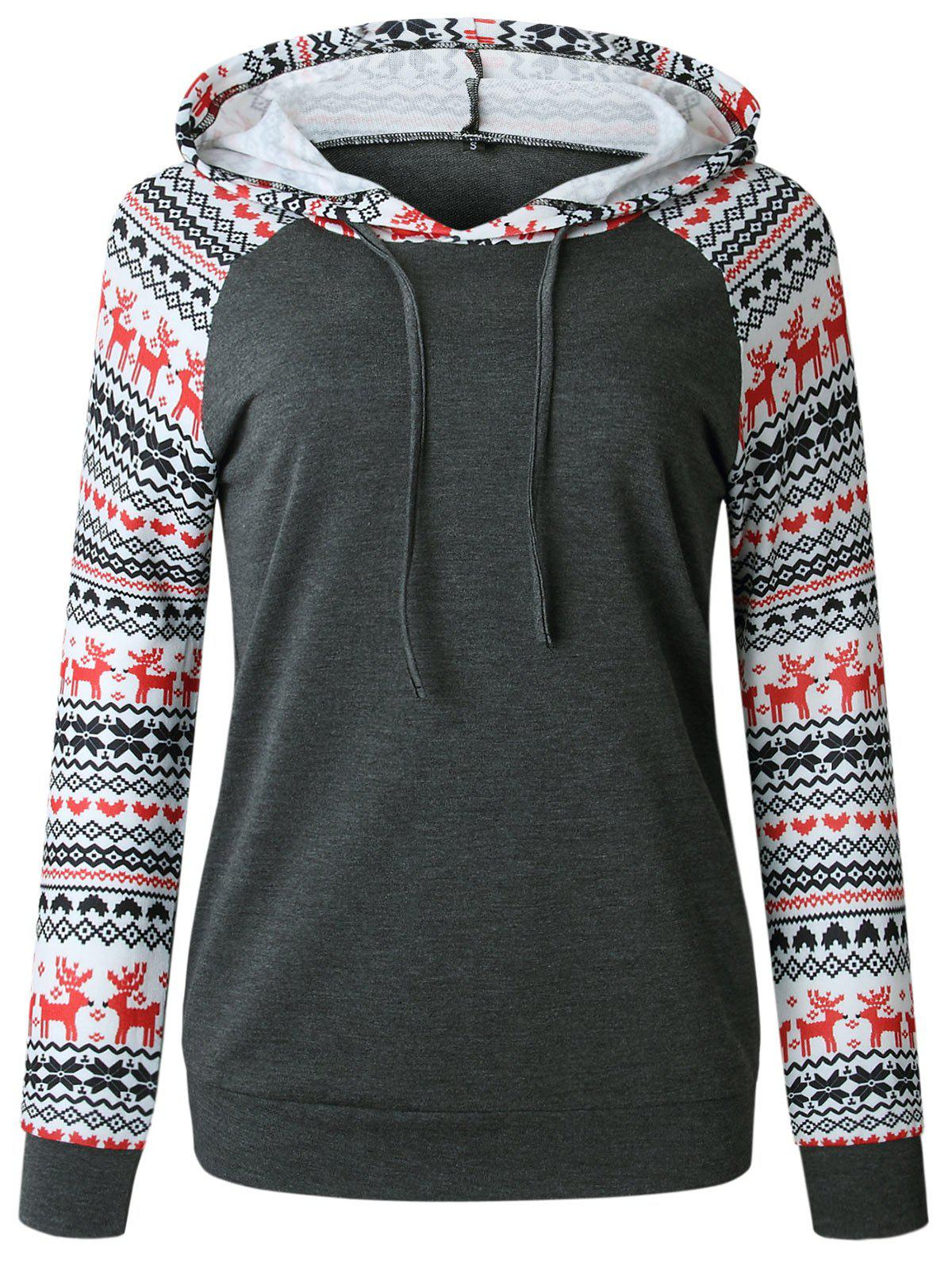 Drawstring Christmas Printed Hoodie - DARK GRAY XL
