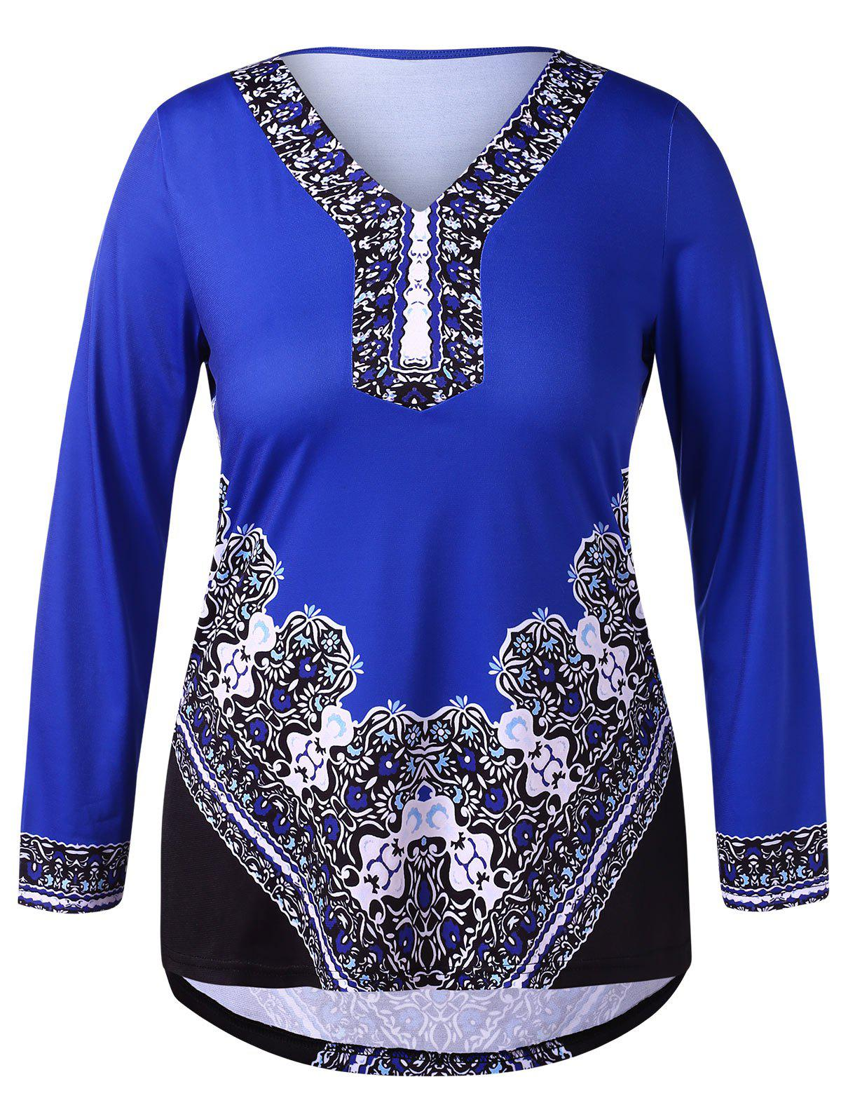 Plus Size Tribal Print High Low T-shirt - BLUE 4X