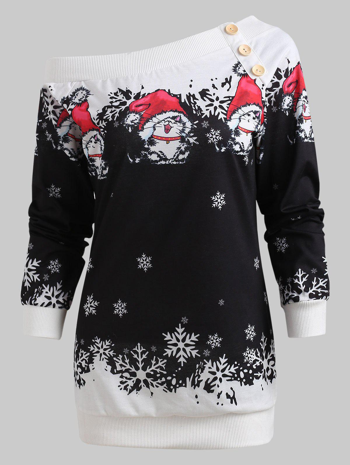 One Shoulder Christmas Print Sweatshirt -