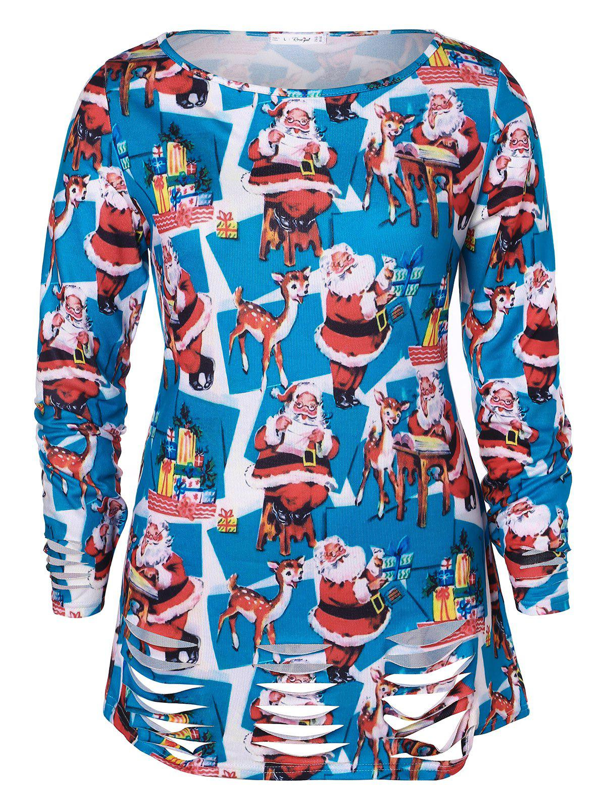 Christmas Plus Size Santa Claus Print Ripped T-shirt - DEEP SKY BLUE 2X