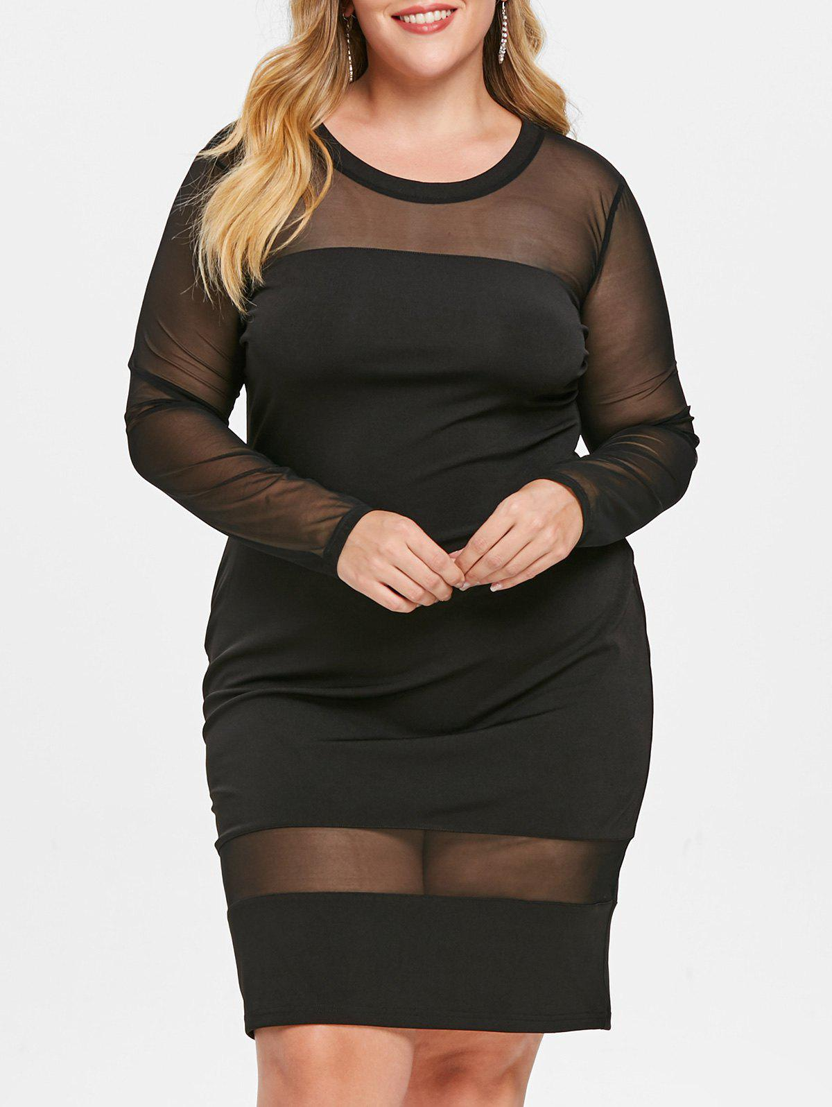 Plus Size Mesh Panel See Through Dress, Black