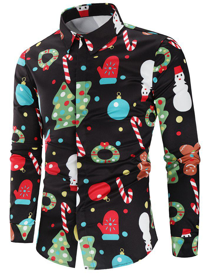 Christmas Theme Button Up Shirt - multicolor L