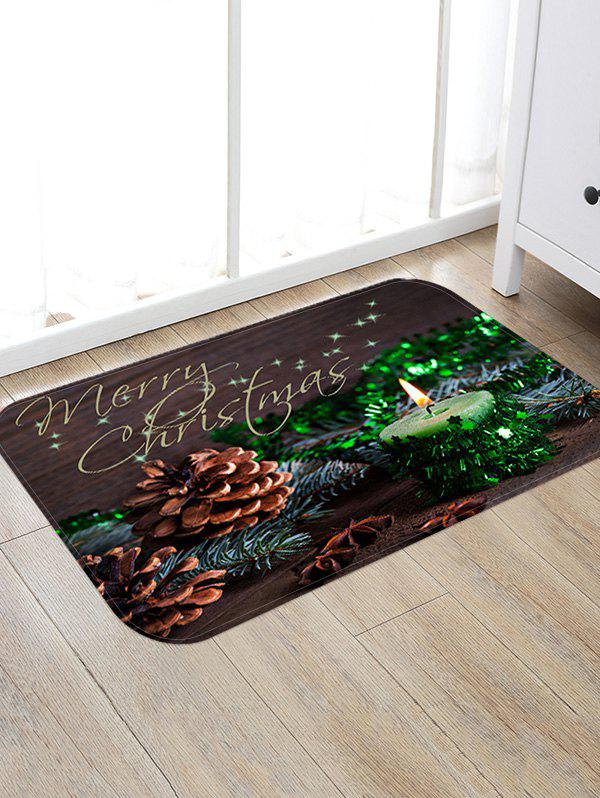 Christmas Candle Pattern Anti-skid Water Absorption Area Rug - multicolor W20 X L31.5 INCH