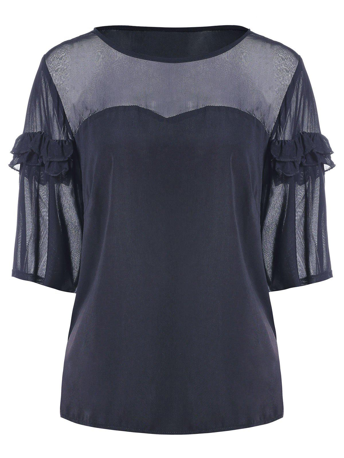 Ruffles Panel Blouse - DARK SLATE BLUE M