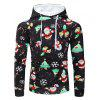Drawstring Christmas Theme Printed Hoodie - multicolor M