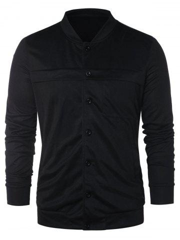 Stand Collar Button Up Solid Jacket
