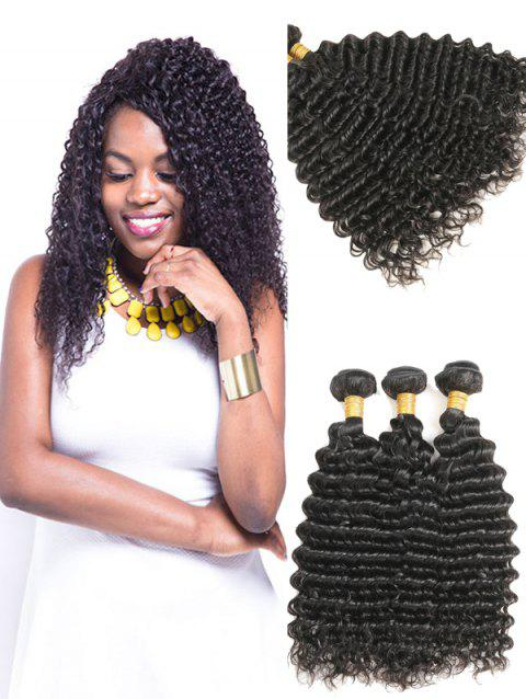 Indian Virgin Real Human Hair Deep Wave Hair Weaves - NATURAL BLACK 14INCH X 16INCH X 16INCH