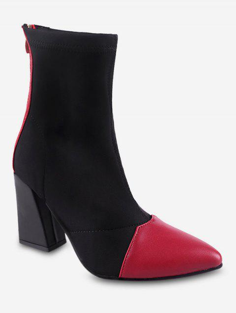Color Block Mid Chunky Heel Short Boots - LAVA RED EU 37
