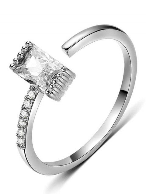 Artificial Crystal Inlaid Cuff Ring - SILVER
