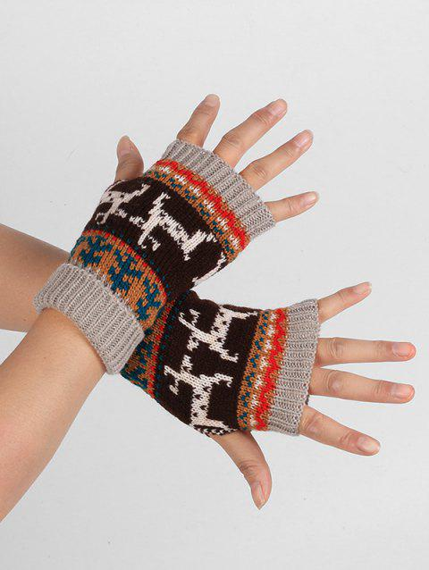 Christmas Elk Fingerless Winter Gloves - GRAY CLOUD