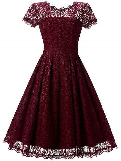 Knee Length Lace Cocktail Dress - RED WINE S