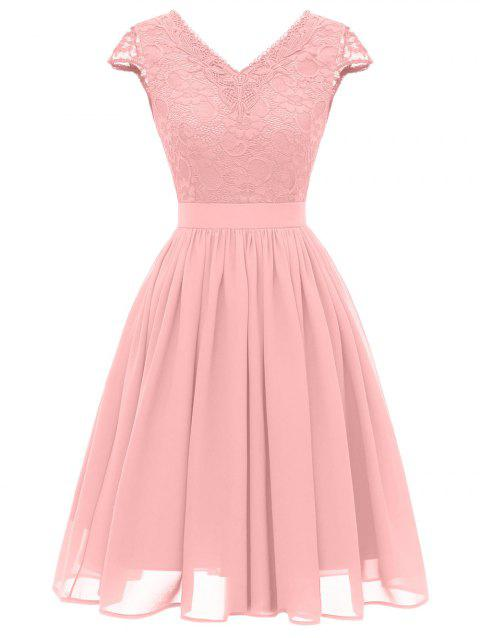 Cap Sleeve Lace Bodice Fit and Flare Dress - PINK 2XL