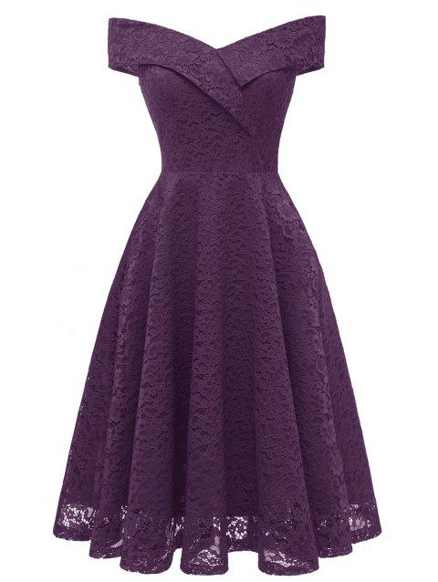 3f7f005e6867 41% OFF  2019 Off Shoulder Lace A Line Dress In PURPLE IRIS 2XL ...