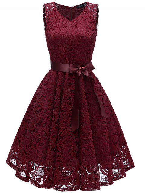 Lace Flare Belted Cocktail Dress - RED WINE M
