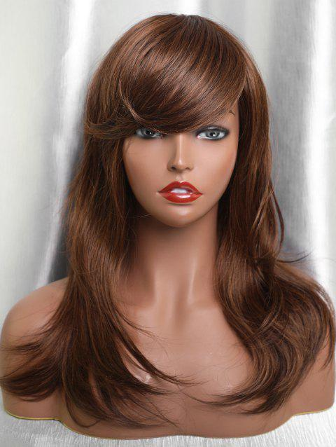 Long Inclined Bang Natural Straight Human Hair Wig - BROWN