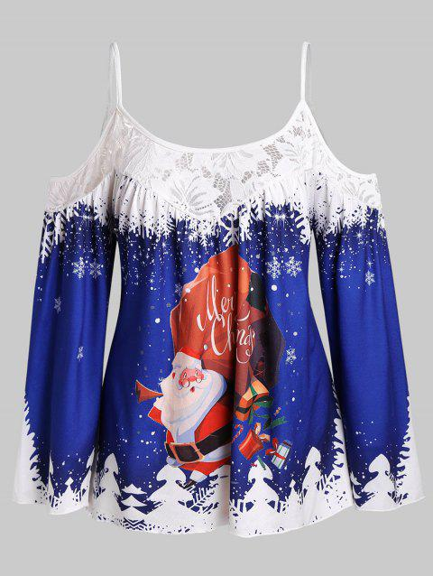 Plus Size Santa Claus Christmas Cold Shoulder Long Sleeves Top - multicolor 1X