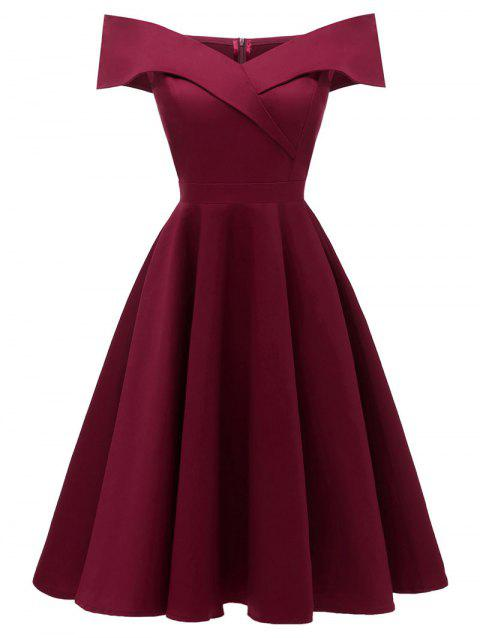 Robe de Cocktail Patineuse Superposée à Epaule Dénudée - Rouge Vineux S
