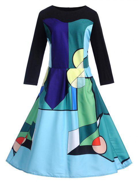Vintage Geometrical Fit and Flare Dress - BLUE IVY 2XL