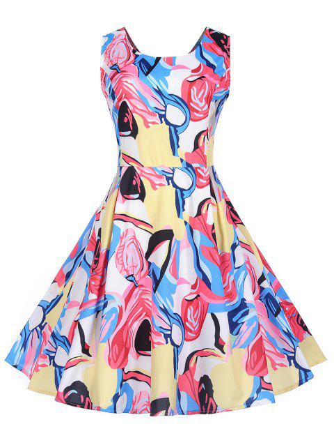 Vintage Abstract Print Pin Up Dress - multicolor 2XL