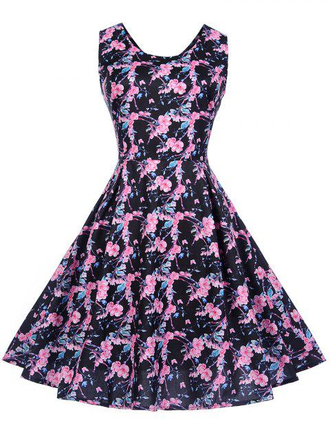 Vintage Sleeveless Floral Print Pin Up Dress - BLACK 2XL