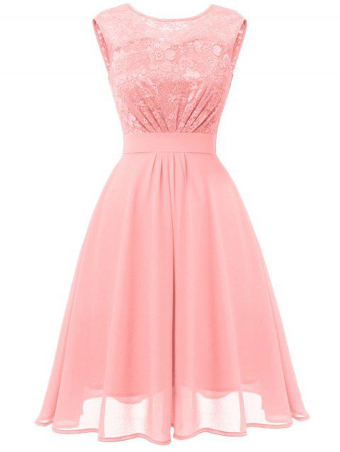 Lace Bodice Fit and Flare Prom Dress - PINK L