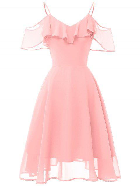 Ruffle Overlay Cold Shoulder Skater Dress - PINK 2XL