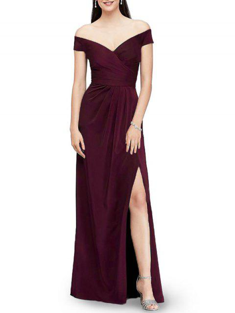 Off The Shoulder Evening Dress - RED WINE 2XL
