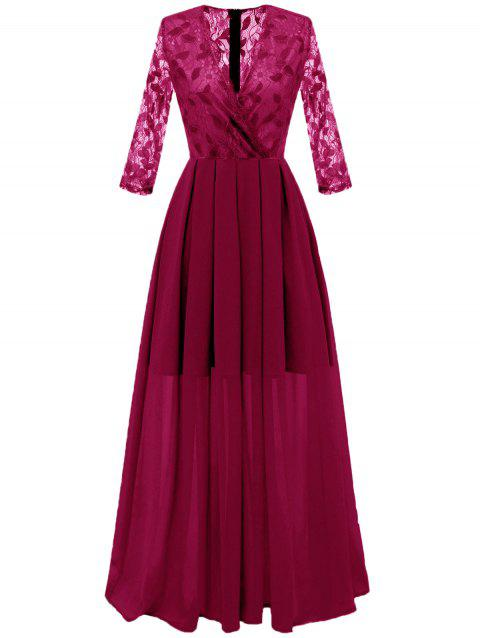 Lace Panel Surplice Prom Dress - RED WINE 2XL