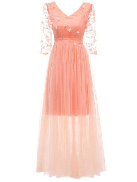 Embroidered Tulle Evening Dress - ORANGE PINK 2XL