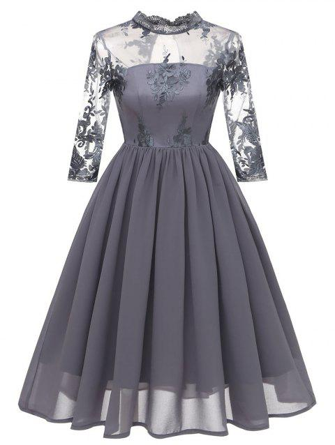 Floral Embroidered Cut Out Mesh Dress - GRAY S
