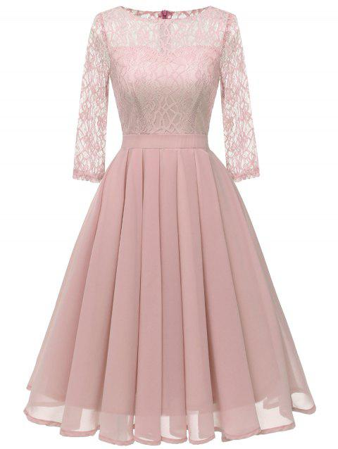 Lace Insert Mid A Line Dress - PINK 2XL