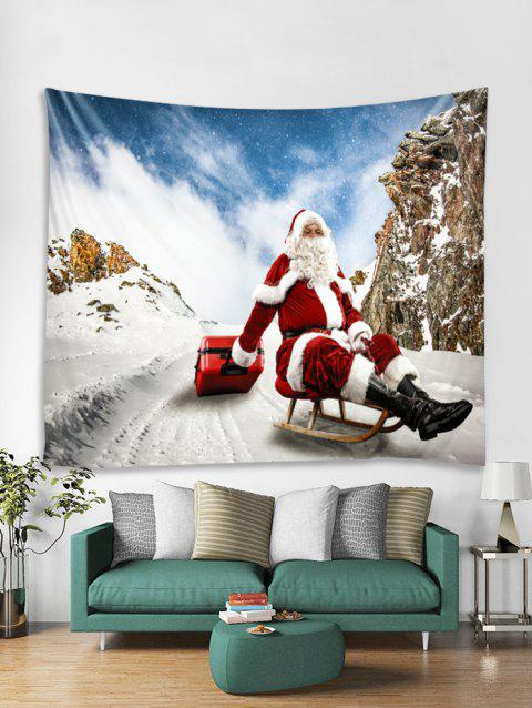 Father Christmas Tapestry Art Decoration - WHITE W59 X L51 INCH