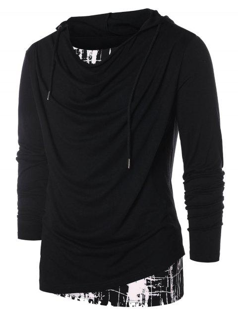 Faux Twinset Panel Hooded T-shirt - BLACK XL