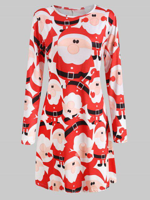 Long Sleeve Printed Jersey Christmas Dress - RED XL
