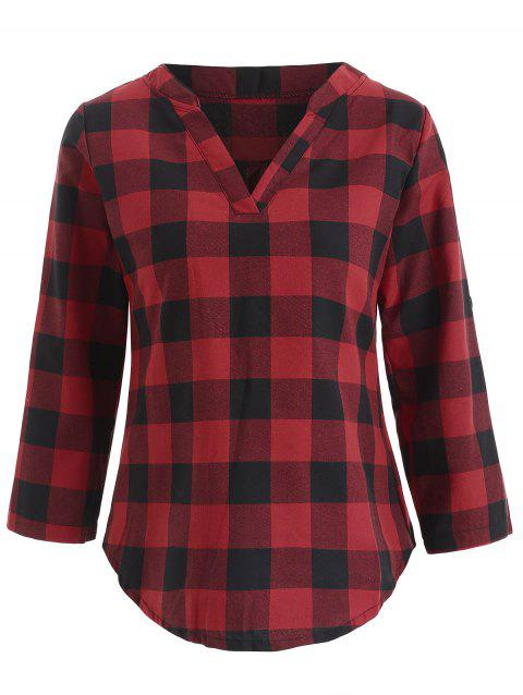 Roll Tab Sleeve Tartan T-shirt - RED WINE XL