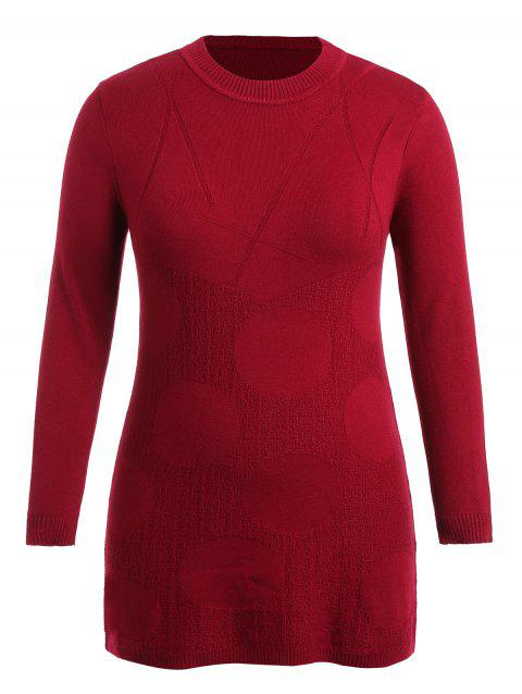 55 Off 2018 Plus Size Long Sleeve Patterned Sweater Dress In Red