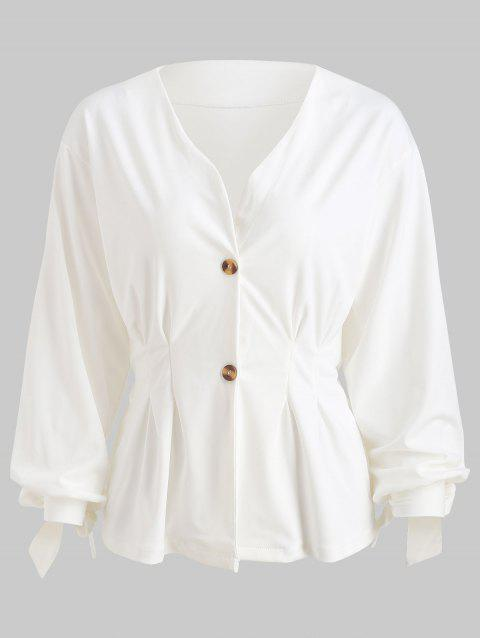 Button Up Tie Cuffs Peplum Blazer - WHITE L