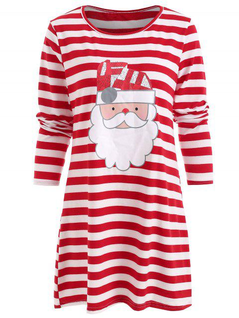 Santa Claus Print Christmas Casual Dress - RED L