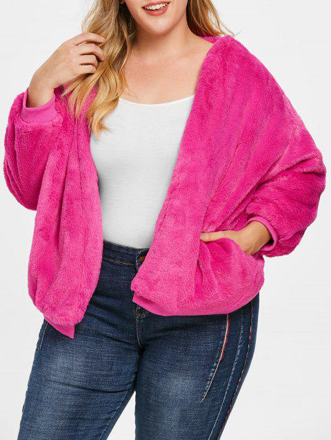 Plus Size Faux Fur Drop Shoulder Jacket - ROSE RED ONE SIZE