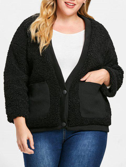 Plus Size Front Pockets Faux Fur Jacket - BLACK ONE SIZE