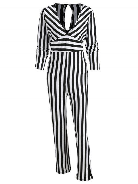 Striped Wide Leg Jumpsuit - multicolor S