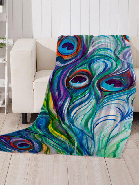 Peacock Feather Pattern Soft Flannel Throw Blanket - multicolor W51 X L59 INCH