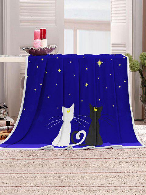 Starry Night Cats Pattern Soft Flannel Throw Blanket - DEEP BLUE W51 X L59 INCH