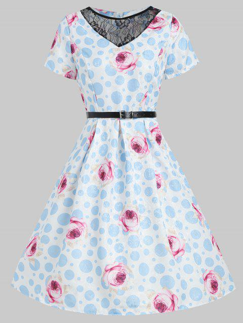 Polka Dot Belted Sewing Dress - multicolor XL