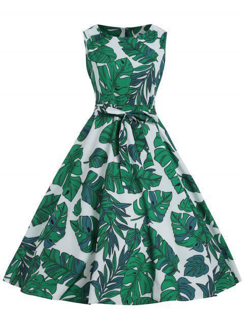 Printed Belted Mid A Line Dress - GREEN M