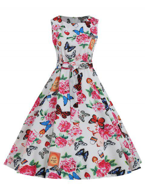 Butterfly Flower Belted A Line Dress - multicolor M