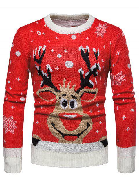 Christmas Reindeer Print Pullover Sweater - LAVA RED L
